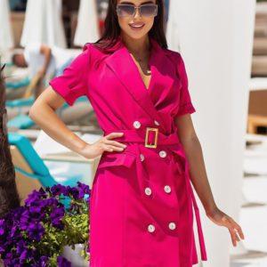 Заказать малиновое женское платье-пиджак с поясом (размер 42-48) онлайн