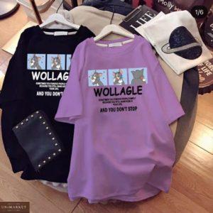 Заказать фиолет, черное женское трикотажное платье с принтом Том и Джерри в Украине