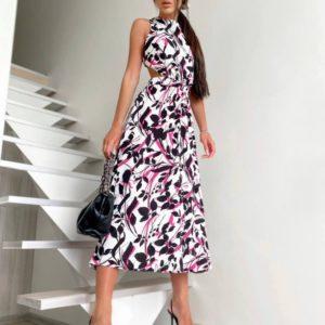 Купить женское розовое платье с принтом и открытой спиной по скидке