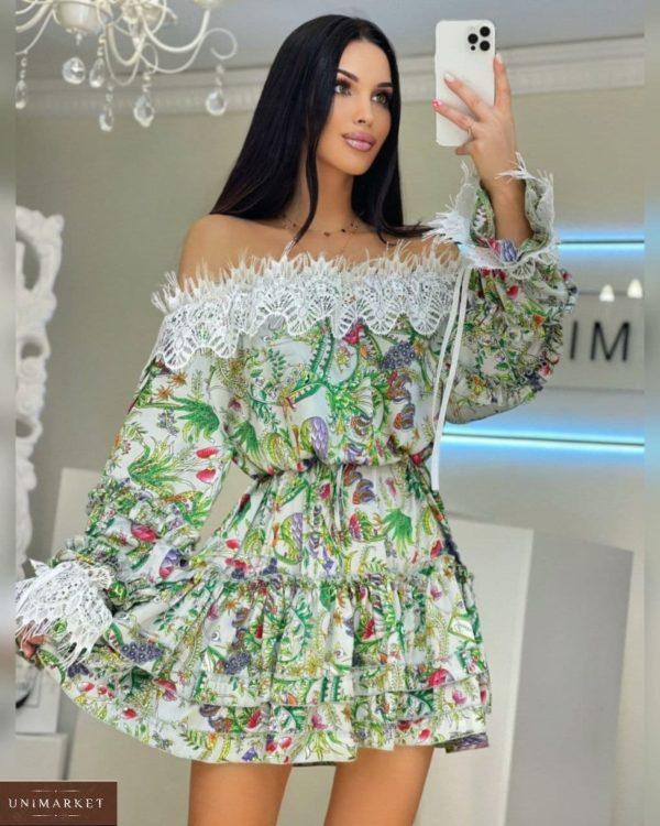 Заказать зеленое женское платье с открытыми плечами из принтованного шелка в Украине