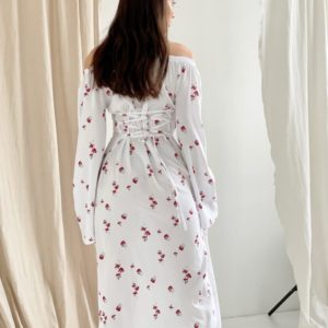 Заказать онлайн белое платье из штапеля с длинным рукавом (размер 42-52) для женщин