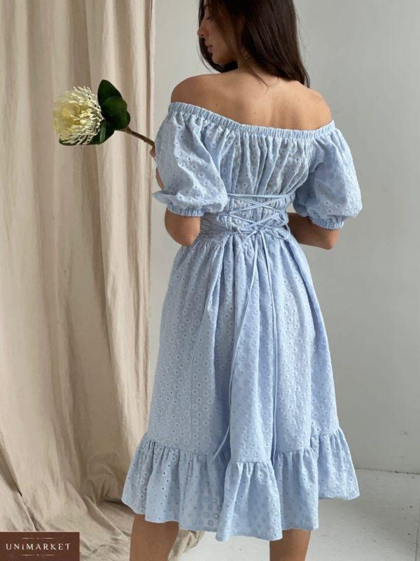 Приобрести в интернете голубое платье с открытыми плечами и шнуровкой (размер 42-52) для женщин