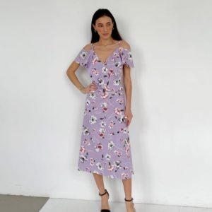 Заказать онлайн сиреневое цветочное платье из льна (размер 42-52) для женщин