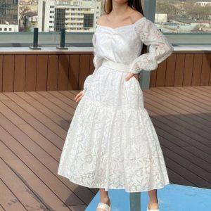 Заказать белого цвета женское летнее платье из органзы (размер 42-52) по скидке