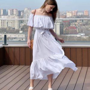 Заказать белое женское летнее платье с открытыми плечами (размер 42-52) в Украине