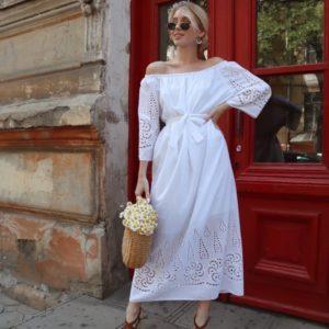 Купить по скидке белое женское длинное платье из хлопка (размер 42-54)