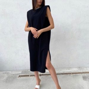 Заказать черного цвета платье миди женское с подплечниками по низким ценам