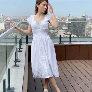 Заказать онлайн белое летнее платье из хлопка с вышивкой для женщин