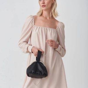 Купить недорого бежевое платье мини с квадратным вырезом для женщин