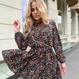 Заказать онлайн черное цветочное платье с длинным рукавом для женщин