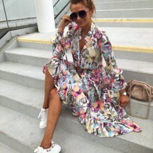 Купить белое цветное цветочное платье с длинным рукавом (размер 42-50) для женщин онлайн