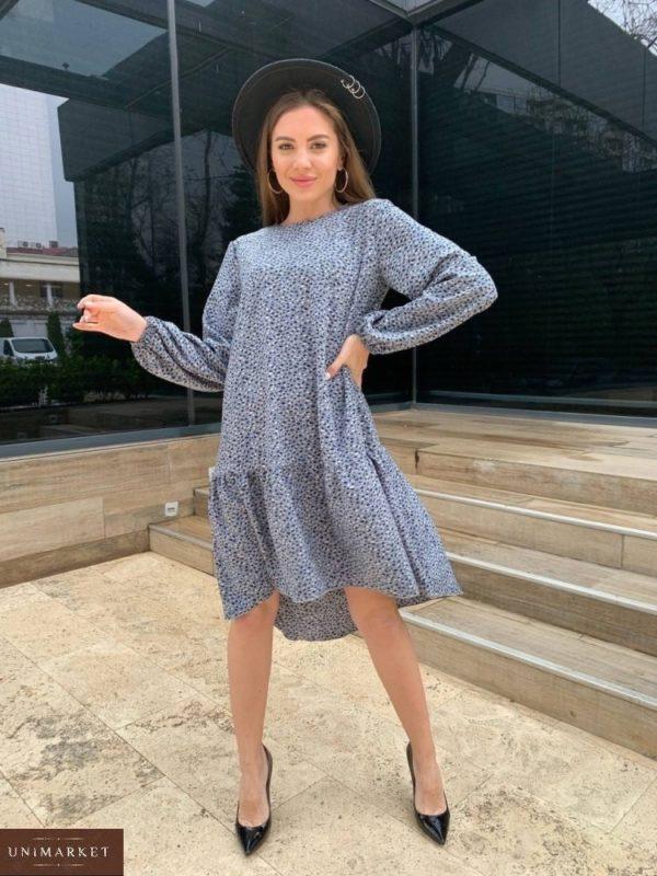 Приобрести серое женское свободное платье миди с длинным рукавом (размер 42-48) онлайн
