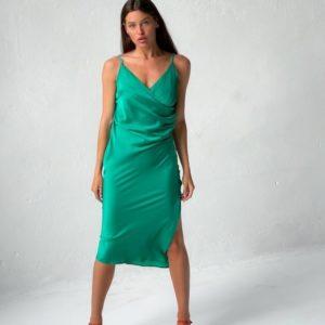 Заказать зеленое женское шелковое платье комби недорого