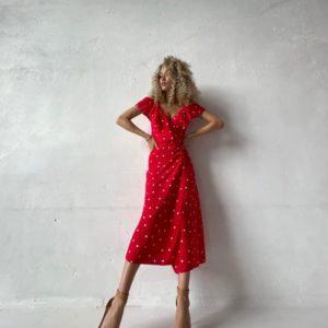 Заказать недорого красное платье в горошек из льна (размер 42-52) для женщин