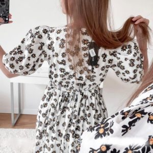 Купить белое женское платье с ромашками из шифона онлайн