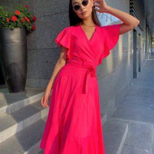 Приобрести малиновое яркое платье для женщин с крылышками на рукавах в Украине для женщин