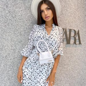Приобрести белое женское платье мини с принтом в интернете