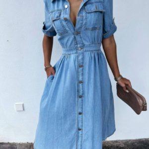 Купить голубое женское джинсовое платье на пуговицах (размер 42-48) онлайн