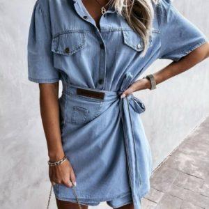 Купить голубое женское джинсовое платье с коротким рукавом (размер 42-48) недорого