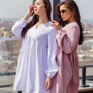 Купить мокко, белое женское свободное платье с длинным рукавом (размер 42-52) дешево