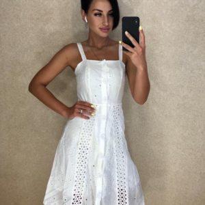 Купить белое женское платье из прошвы на пуговицах недорого