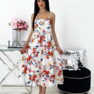 Заказать по скидке оранж женское летнее платье миди с принтом (размер 42-48)
