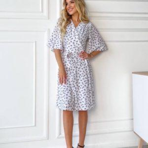 Заказать дешево белое платье на запах с коротким рукавом (размер 42-48) для женщин