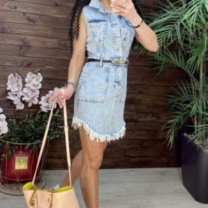 Заказать недорого голубое джинсовое платье с необработанными краями (размер 42-48) для женщин