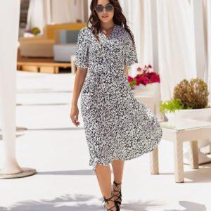 Приобрести черно-белое женское платье на запах с принтом (размер 42-54) дешево