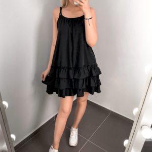 Заказать по скидке черное женское летнее платье с рюшами