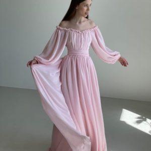 Заказать женское нежное пудра платье в пол с открытыми плечами (размер 42-52) в интернете на выпускной