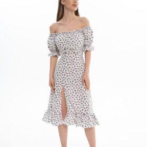 Заказать по скидке женское принтованное платье с разрезом (размер 42-56) белого цвета