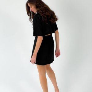 Купить онлайн черного цвета льняное платье-рубашка с разрезом (размер 42-48) для женщин