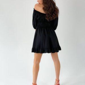 Заказать женское платье с объемными рукавами и открытыми плечами черное онлайн