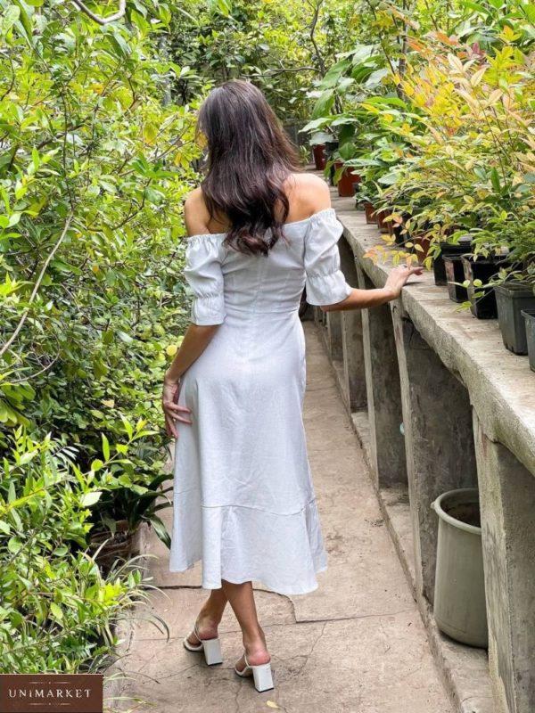 Купить платье миди онлайн белое из льна с разрезом для женщин