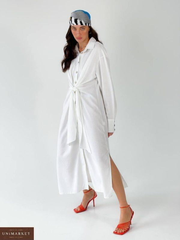 Заказать белое женское длинное платье-рубашка из льна (размер 42-50) по скидке