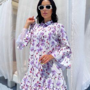 Приобрести лиловое женское платье с цветочным принтом (размер 42-48) в Украине