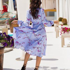 Заказать лиловое женское платье миди с длинным рукавом на запах (размер 42-54) по скидке