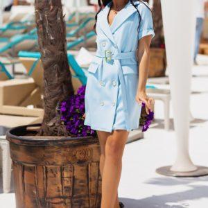 Купить в интернете женское платье-пиджак с поясом (размер 42-48) голубого цвета