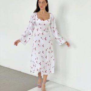 Купить женское белое платье из штапеля с длинным рукавом (размер 42-52) недорого