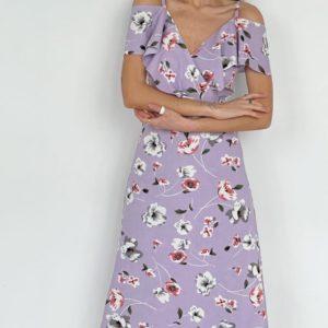 Купить по скидке сирень женское цветочное платье из льна (размер 42-52)