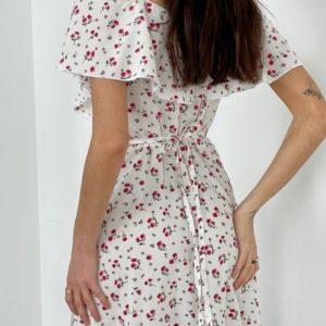 Купить в интернете белое платье на запах с открытыми плечами (размер 42-52) для женщин