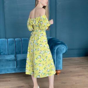 Заказать недорого желтого цвета льняное платье в цветочный принт для женщин с открытыми плечами (размер 42-52)