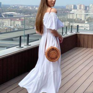 Купить недорого белое летнее платье с открытыми плечами (размер 42-52) для женщин