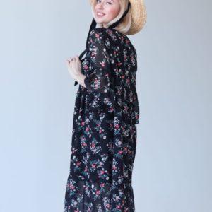 Приобрести онлайн черное свободное платье из шифона (размер 42-52) для женщин