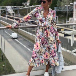 Заказать разноцветное женское цветочное платье с длинным рукавом (размер 42-50) в интернете
