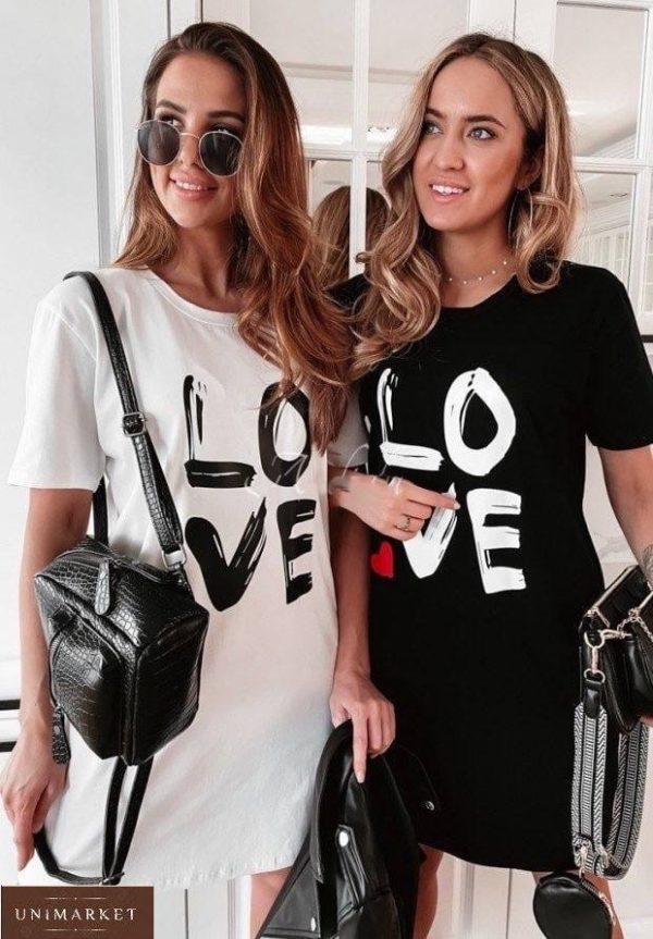 Купить черное женское хлопковое платье Love (размер 42-48) онлайн
