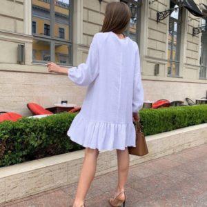 Купить белое женское свободное платье из муслина на лето в Украине