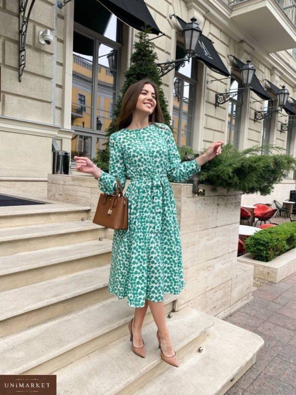 Купить зеленое женское платье миди с принтом дешево
