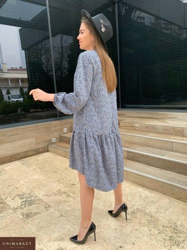 Заказать серое женское свободное платье миди с длинным рукавом (размер 42-48) онлайн